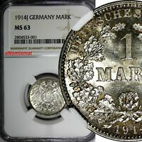 Germany - Empire Wilhelm II Silver 1914 J 1 Mark NGC MS63 Nice Toned KM# 14