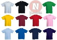 Fruit of the Loom blank plain Childrens Kids t-shirt 1-13 years school PE games