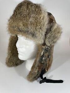 Mad Bomber Hat Trapper Aviator Camouflage M Genuine Rabbit Fur Trim M Unisex