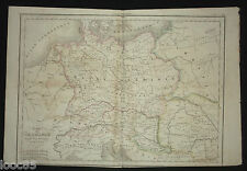 gravure carte Germanie Allemagne 1836 Atlas Delamarche Deutschland couleurs