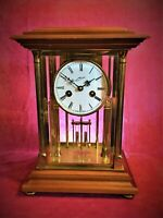 SCHMID DU CHATEAU GERMAN Mantel Clock TOP Vintage RARE Translucent Chime GILDED