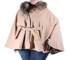INC $200 Womens New 1146 Brown Cape Style Belted Faux Fur Coat Plus 3X B+B