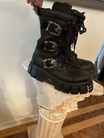 Rock Goth Rock Black Leather Boots Skull Buckle Flame Reactor Boots  Men 10