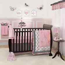 Lambs & Ivy Duchess Baby Nursery Cotton 9-Piece Crib Bedding Set, Girl Pink Gray