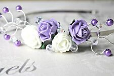 Handmade - Lilac Lavender and Ivory Flower Fascinator, side tiara, headband