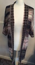 MONSOON BROWN AND PINK PATTERN FINE KNIT LINEN MIX CARDIGAN UK 10 Smart Work