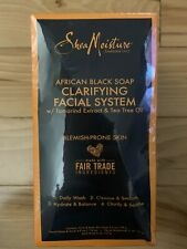 SheaMoisture African Black Soap Facial System Kit |4oz. Facial Wash & Scrub |4