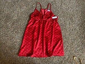 NEW! GILLIGAN & O'MALLEY WOMEN'S SATIN LIKE SLEEP CHEMISES DRESS RED XOXO LARGE