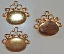 Fob Pendants Gold Plated Brass Charms Findings high qual antique 2pcs