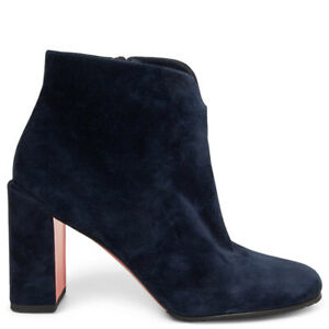 63602 auth CHRISTIAN LOUBOUTIN navy suede CASTARIKA Ankle Boots Shoes 38.5