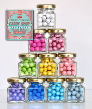 80 x GLASS CANDY BUFFET BOMBONIERE BABY SHOWER CHRISTENING FAVOUR LOLLY JAR