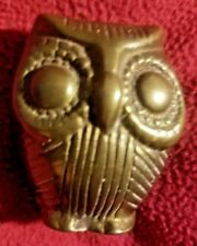 A Vintage Brass made OWL Statue ORNAMENT PAPERWEIGHT Nicely Engraved from India