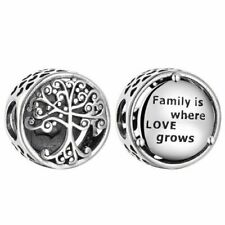 Beautiful Pandora family is where love grows Charm Sterling Silver S925