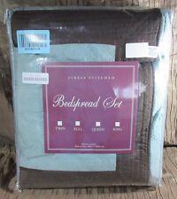 Greenland Home Fashions Brentwood Blue Surf/Espresso Twin 2Piece Bonus Bedspread