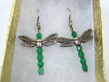 Dragonfly Earrings Swarovski Elements Emerald Green Crystal Pierced