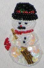"Decorative Fancy Craft 2 1/2"" Bead Sequin SNOWMAN Patch"