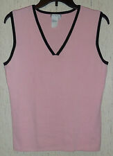 EXCELLENT WOMENS / JUNIORS SPANNER PINK W/ BLACK TRIM V-NECK KNIT TOP   SIZE M
