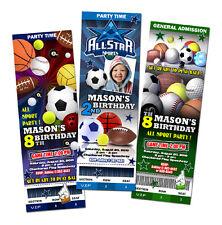 ALL STAR SPORT BIRTHDAY PARTY INVITATION INVITE BASEBALL CUSTOM FOOTBALL - 1ST
