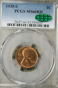 Gorgeous 1935-S Lincoln Wheat Cent -  PCGS MS66RD CAC!