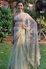 UK Stock-Indian Bollywood Designer Deepika Bridal Blue & Red Saree, Sari