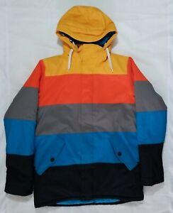 Burton DryRide Ski Snowboard Jacket size S Hooded Colorblock satin lined