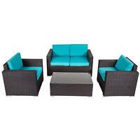 Kinbor 4-piece Outdoor Wicker Sofa Set Patio Sectional Furniture Set w/ Cushions