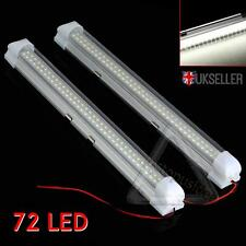 2x 12V 72 LED White Car Interior Strip Lights Bar Lamp Van Caravan ON OFF Switch