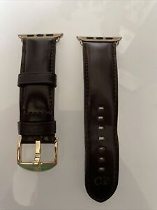 BandWerk Apple Watch 44MM Horween Leather Brown Band & Gold Milanese Strap