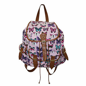 Butterfly Bag Ladies School Girls Canvas College Large Backpack Rucksack Pink