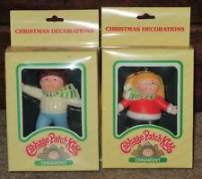 VTG CABBAGE PATCH KIDS CHRISTMAS ORNAMENTS SET 2 BOY & GIRL ICE SKATERS 1983 MIB