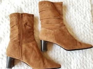 """Coldwater Creek Womens Boots Brown Suede Leather Slouch  3 1/4""""  Heels Size 9"""