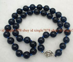 "Natural 8/10mm Black Blue Sapphire Round Gemstone Beads Long Necklace 16-36"" AAA"