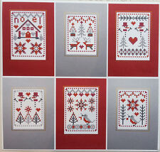 CHRISTMAS RED SET 6 RIVERDRIFT CHRISTMAS CARDS COUNTED CROSS STITCH KIT