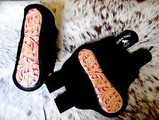 * SALE Tooled Leather PINK Inlay Splint Boots For Rodeo & Trails New Horse Tack
