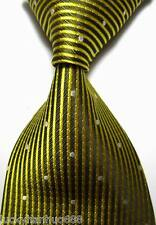 New Classic Stripes Dots Gold White JACQUARD WOVEN 100% Silk Men's Tie Necktie