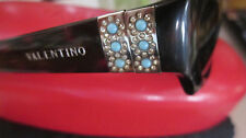 VALENTINO MADE IN ITALY SUNGLASSES IN CASE TURQUOISE BROWN COLOR VINTAGE