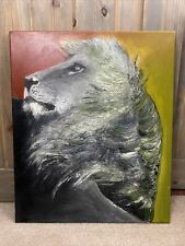 Oil painting, LION , original artwork, animal, wild life , 20