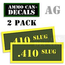 410 SLUG Ammo Can Box Decal Sticker Set bullet ARMY Gun safety Hunt 2 pack YW