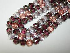 25 Pink, Purple, and Crystal Mix Cathedral Czech Glass 6mm beads