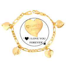 18K Gold Plated Fashion Heart Charm Bracelets for Girls With I Love You Letters