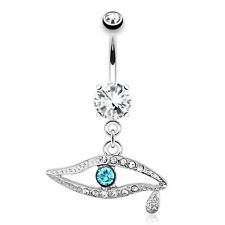 Emerald CZ Eye Teardrop Surgical Steel Navel Belly Button Ring
