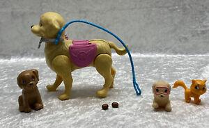 "Barbie Doll Potty Training Taffy Dog Lot of 4 Poops Leash 5"" Tall Brown Mattel"