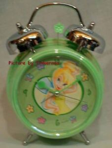 RETIRED TINKERBELL MINTY GREEN DOUBLE BELL ALARM CLOCK