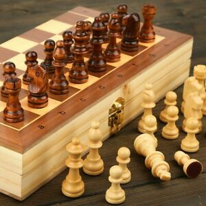 High Quality Elegant Magnetic Wooden Folding Chess Set with Felted Game Board