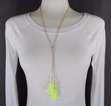Yellow tassel fringe pearl lariat necklace thin skinny chain adjustable long