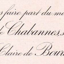 Vicomte Joseph Antoine De Chabannes Paris 1892 Claire Antoinette De Bourdeille