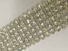 6 Row Rhinestone Ribbon Trim Banding Wedding Cake Decoration Flat Back - 1 YARD