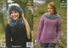 King Cole 4060 Pull/Cowl/chapeau original Knitting Pattern-Luxe Fourrure/Aran