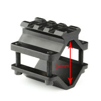 Tactical Single Rail Picatinny Weaver Barrel Mount with 3 Slots Clamp On Black