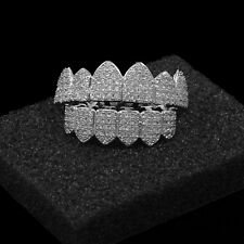 New Silver Plated High Quality Big CZ Iced Out Top & Bottom GRILLZ Mouth Teeth